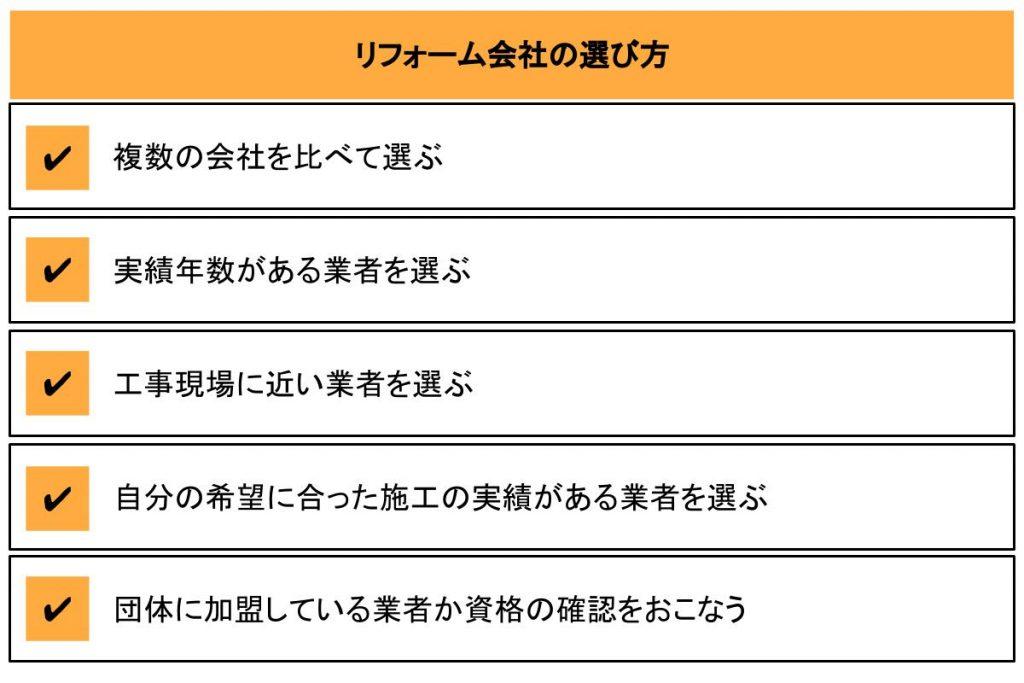 5つのリフォーム会社の選び方