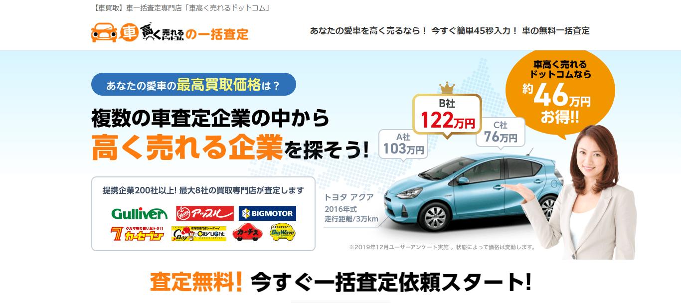軽自動車の買取先選びは「車高く売れるドットコム」が便利</a> <p>軽自動車を売却するときには、相場を知り、自分と愛車に一番あう買取業者を適切に選ぶことが重要です。そのために便利なのが、インターネットの一括査定です。</p> <p>「車高く売れるドットコム」なら、全国200社を超える車買取専門店のうち、自宅近くの専門店最大8社が無料で一括査定を行います。簡単な情報を入力するだけで、厳選された買取店からメールか電話で連絡があります。じっくり話を聞いて、最も適した業者を選ぶことが可能です。</p> <a href=